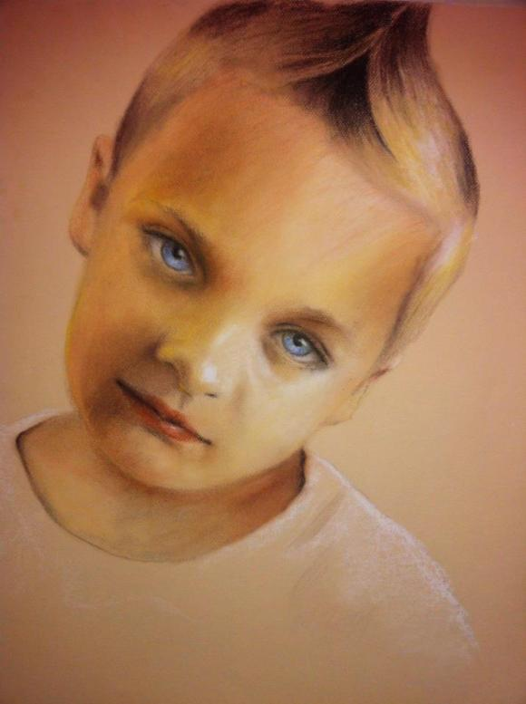 The Boy With The Blue Eyes Artwork by Bonnie More Delong
